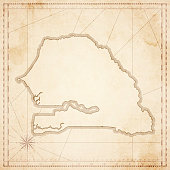 Senegal map in retro vintage style - old textured paper
