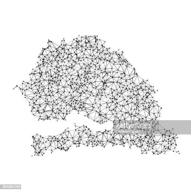 senegal map network black and white - west africa stock illustrations, clip art, cartoons, & icons