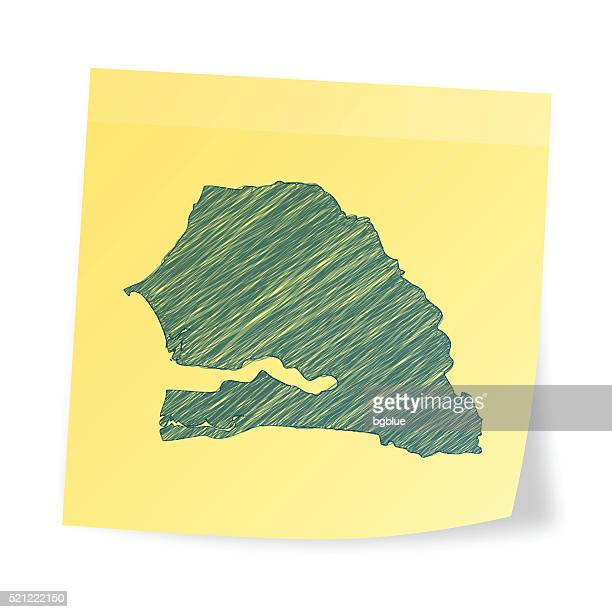 senegal map on sticky note with scribble effect - senegal stock illustrations, clip art, cartoons, & icons