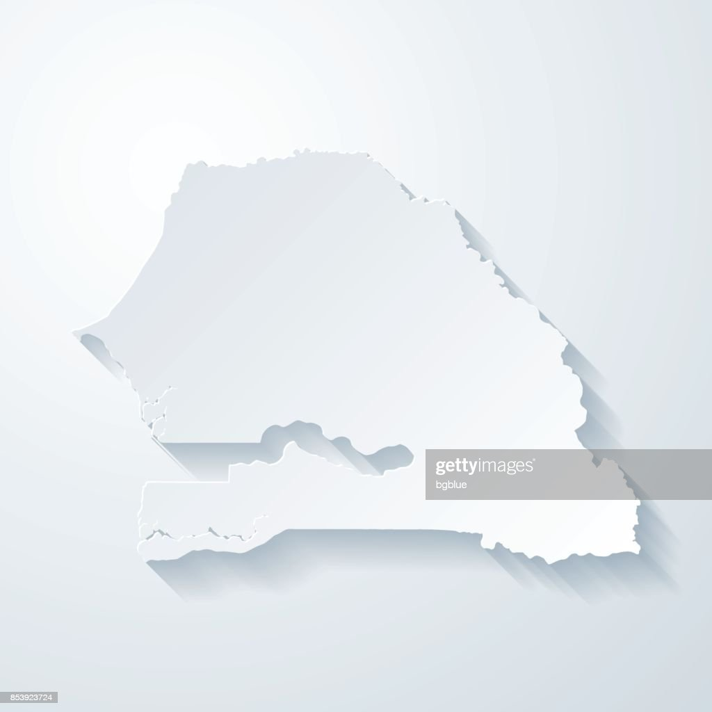 Senegal Map With Paper Cut Effect On Blank Background Vector Art - Senegal map vector