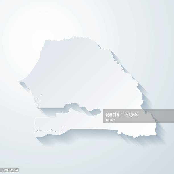 senegal map with paper cut effect on blank background - senegal stock illustrations, clip art, cartoons, & icons
