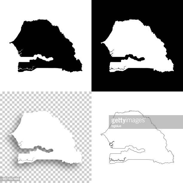 senegal maps for design - blank, white and black backgrounds - senegal stock illustrations, clip art, cartoons, & icons