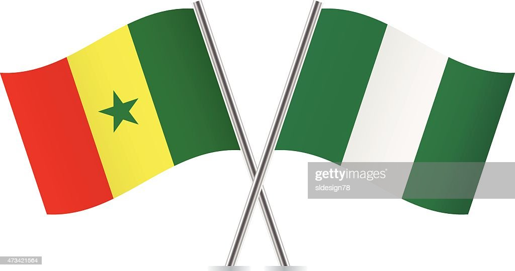 Senegalese and Nigerian flags. Vector.