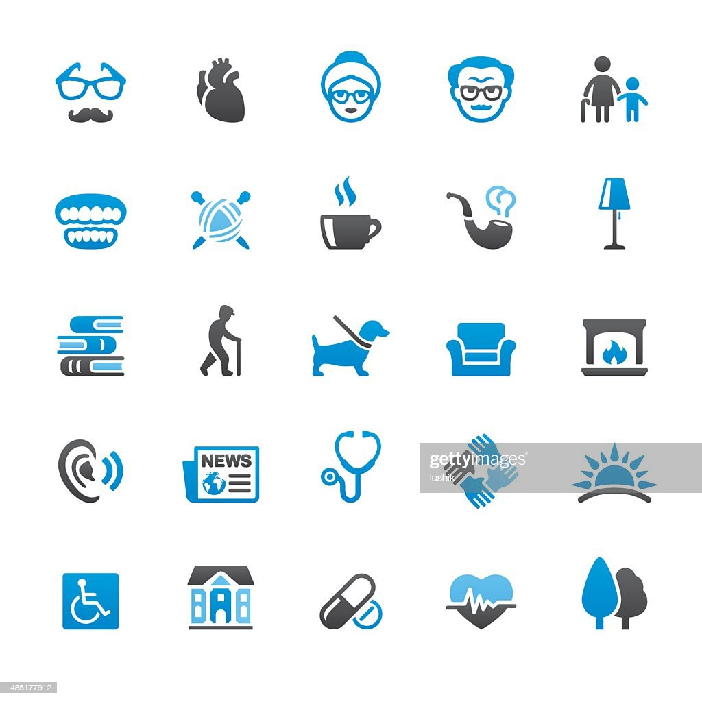 Senior Adult related vector icons