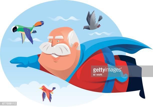 senior adult super hero flying with birds