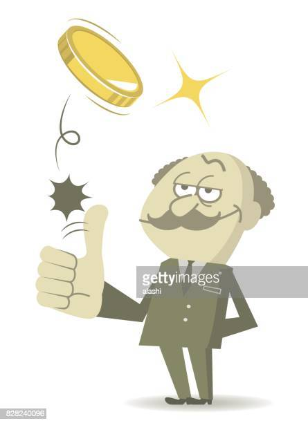 senior bald stingy businessman (man, professor, boss, general manager) standing flipping a coin (toss up gold currency), thumbs up gesturing - flipping a coin stock illustrations, clip art, cartoons, & icons