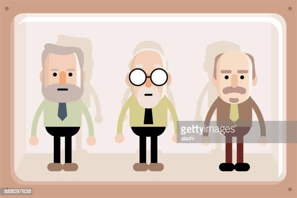 Senior business men in window box