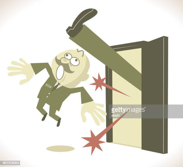 Senior businessman getting the boot, Boss being kicked out of the door! Man being forced out of executive job, Get fired, Kick away! Get out!