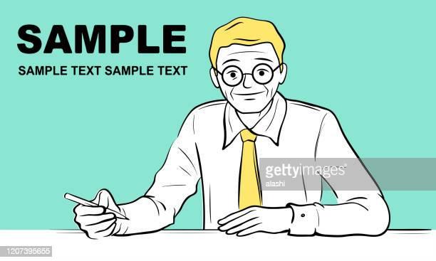 先輩ビジネスマン(編集者、作家、教師)がペンで書いています - コラムニスト点のイラスト素材/クリップアート素材/マンガ素材/アイコン素材