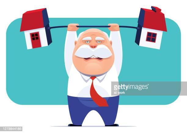 senior businessman lifting barbell house - senior citizen clipart stock illustrations