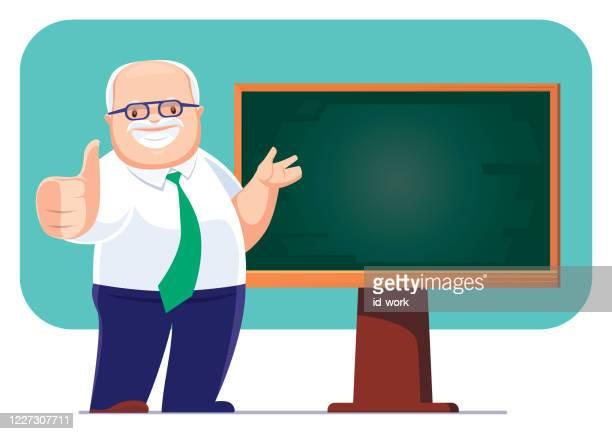 senior businessman presenting with blackboard - showing respect stock illustrations