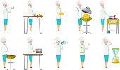 Senior caucasian chef vector illustrations set