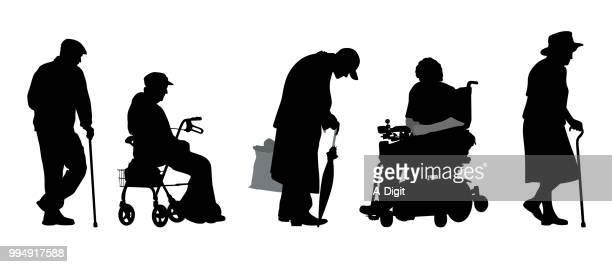senior citizen disability - walking cane stock illustrations