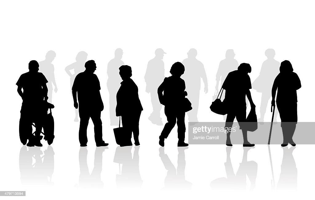 Senior citizen silhouette illustration of elderly walking : stock illustration