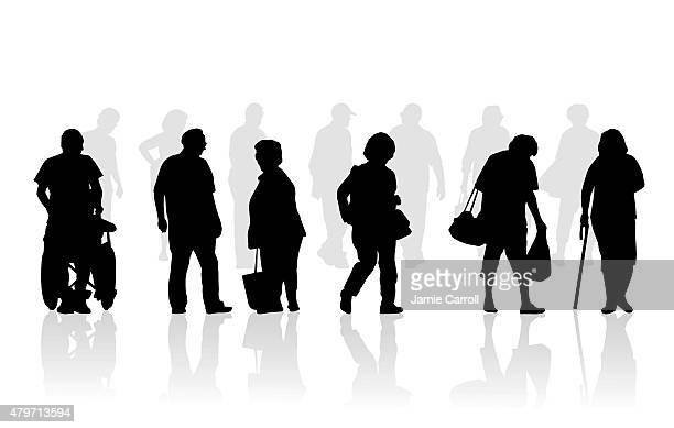 senior citizen silhouette illustration of elderly walking - physical disability stock illustrations, clip art, cartoons, & icons