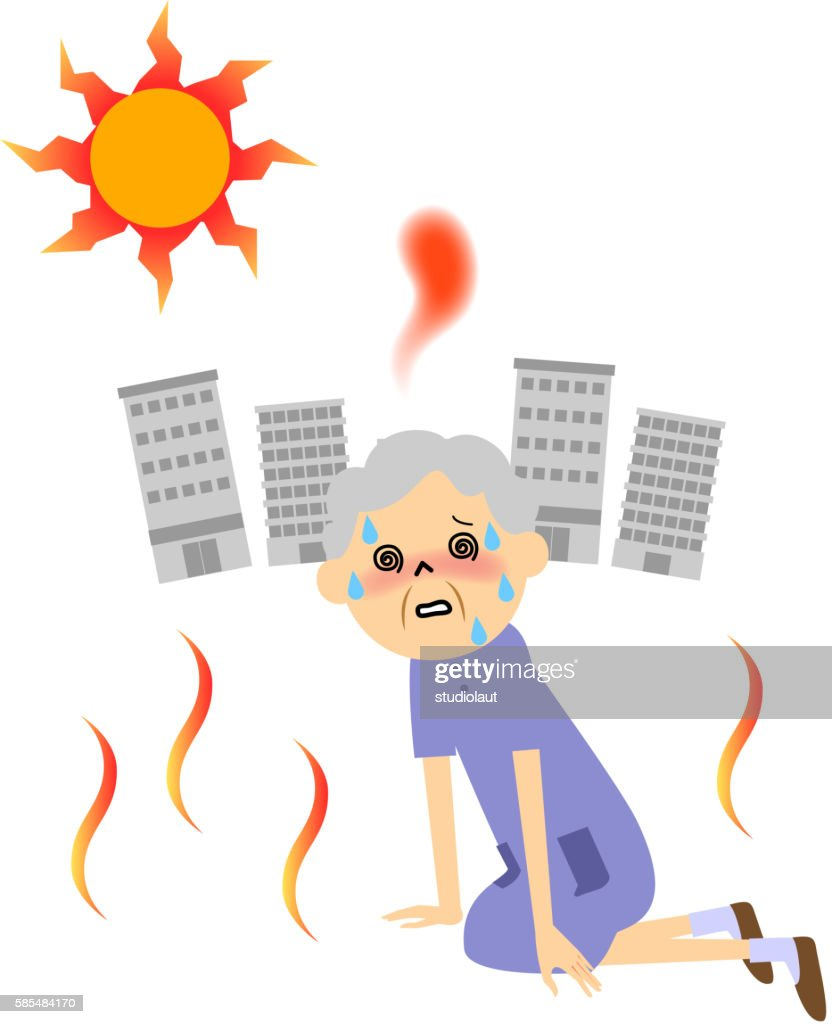 Senior citizen with heat exhaustion