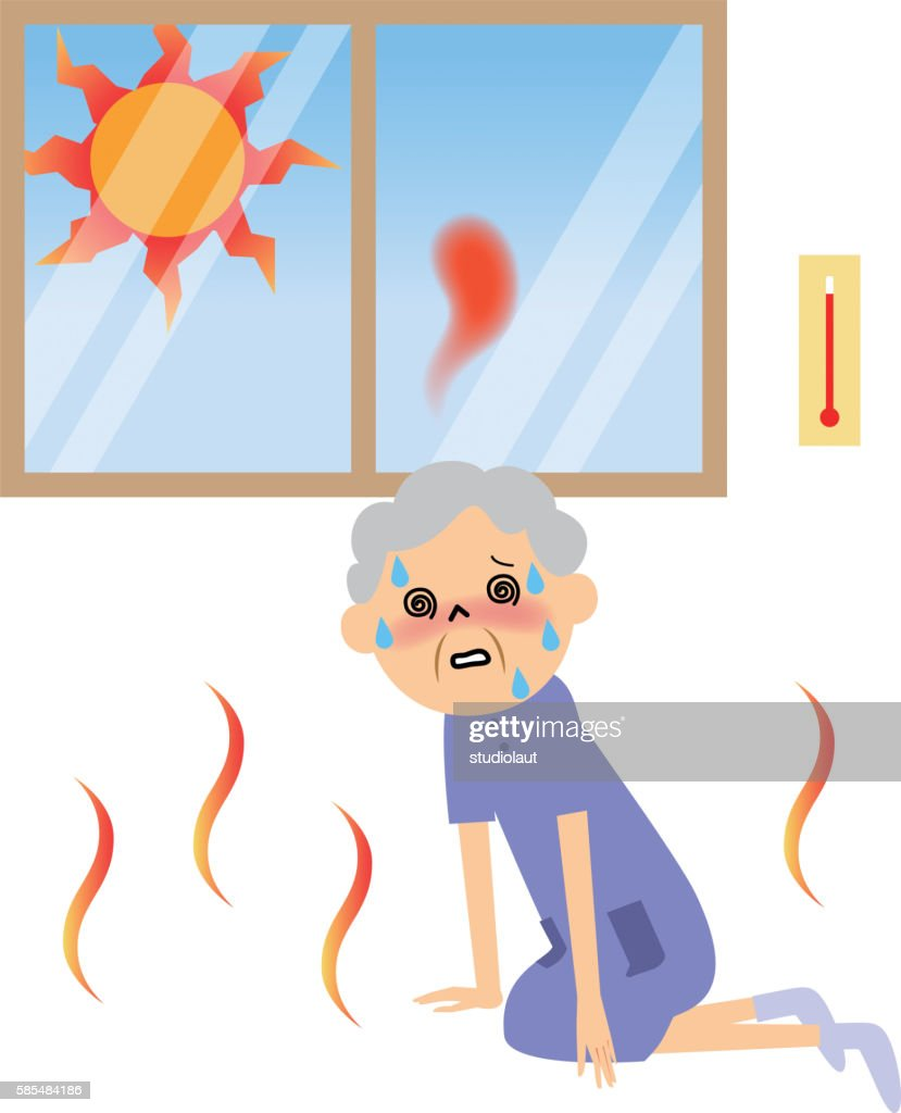 Senior citizen with heat exhaustion