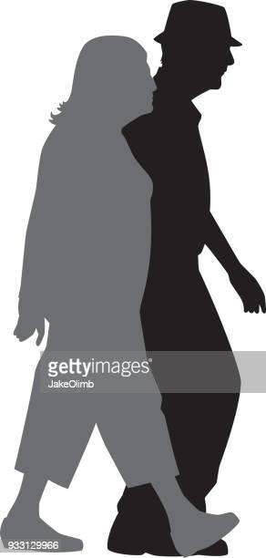 Senioren lopen silhouet