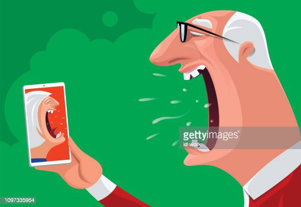 senior couple arguing via smartphone - mouth open stock illustrations