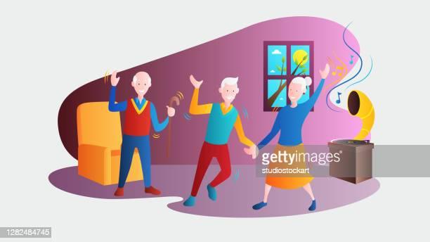 ilustraciones, imágenes clip art, dibujos animados e iconos de stock de pareja mayor bailando - bailar un vals