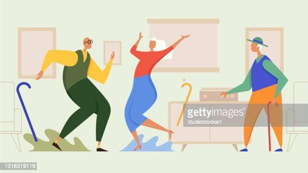 ilustraciones, imágenes clip art, dibujos animados e iconos de stock de baile de pareja senior - bailar un vals