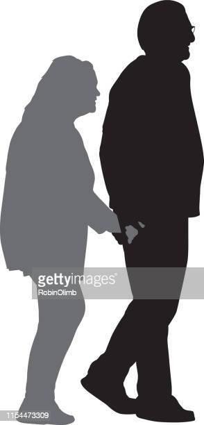 ilustrações de stock, clip art, desenhos animados e ícones de senior couple holding hands silhouette - vertical