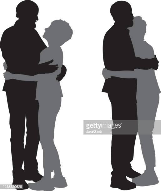 illustrazioni stock, clip art, cartoni animati e icone di tendenza di coppia senior abbracci silhouette - abbracciare una persona
