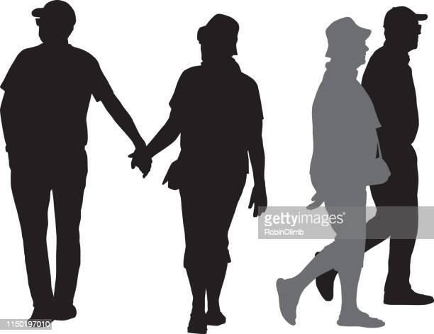 senior couple silhouettes - gray hat stock illustrations