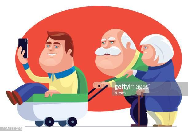 senior couple strolling with son - senior citizen clipart stock illustrations