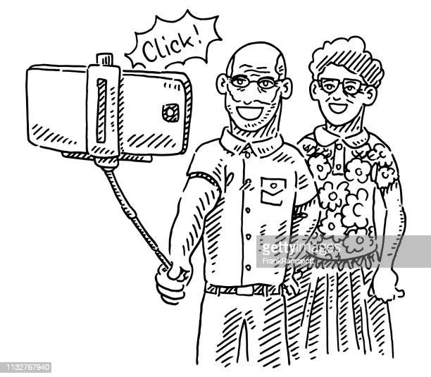 Senior Couple Taking A Selfie Drawing