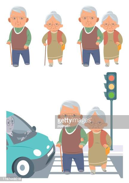 senior couple walking - zebra crossing stock illustrations