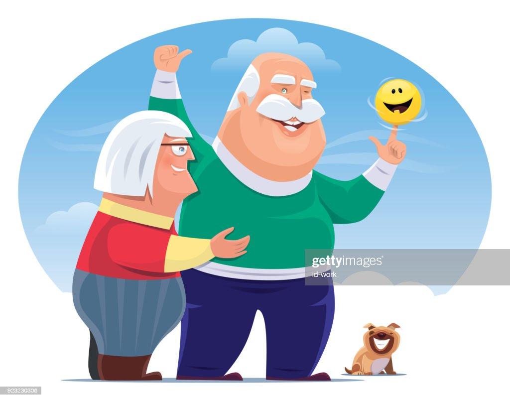 senior couple with happy emoji : stock illustration