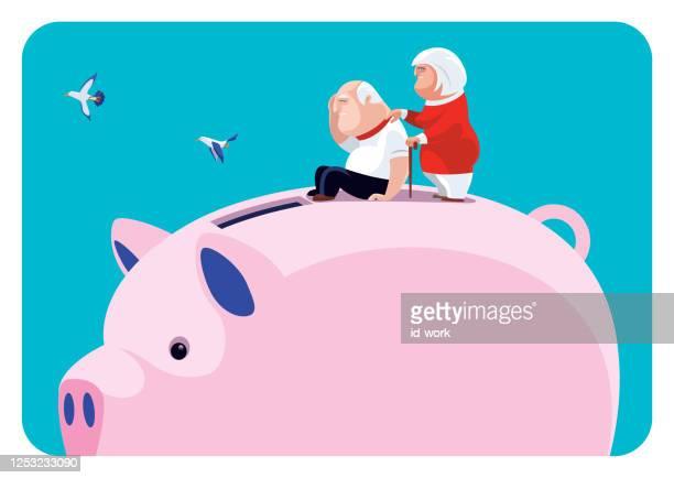 貯金箱とのシニアカップル - 年配の男性点のイラスト素材/クリップアート素材/マンガ素材/アイコン素材