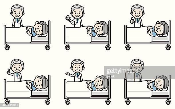 ilustraciones, imágenes clip art, dibujos animados e iconos de stock de senior médico examinar paciente de edad avanzada - asistente de enfermera