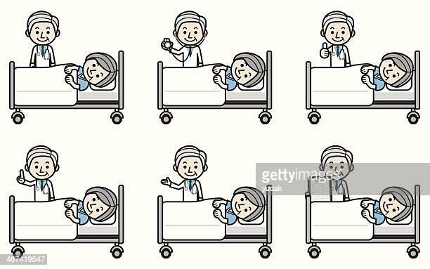 ilustraciones, imágenes clip art, dibujos animados e iconos de stock de senior médico examinar paciente mujer de edad avanzada - asistente de enfermera