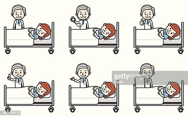 Senior doctor examining female patient