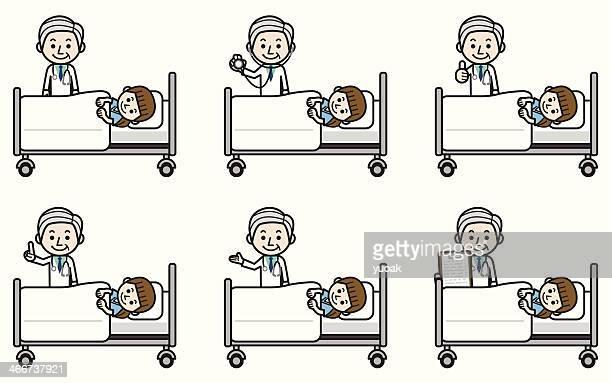 senior médico examinar jovem doente