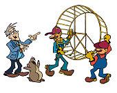 Senior entrepreneur getting rid of hamster wheel