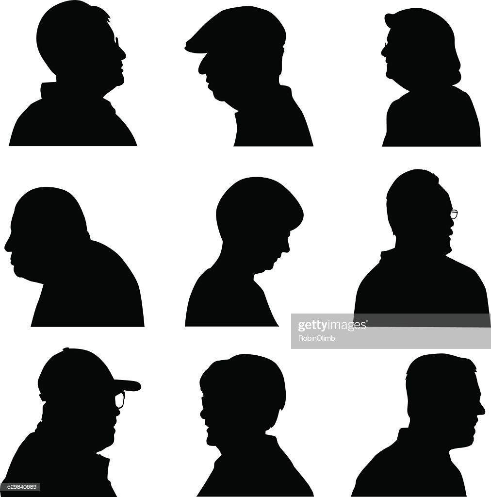 Senior Face Profiles : stock illustration