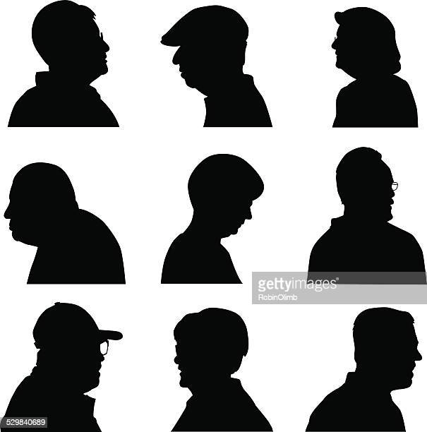 senior face profiles - side view stock illustrations