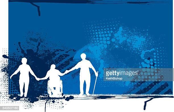 senior grunge background - disability stock illustrations, clip art, cartoons, & icons