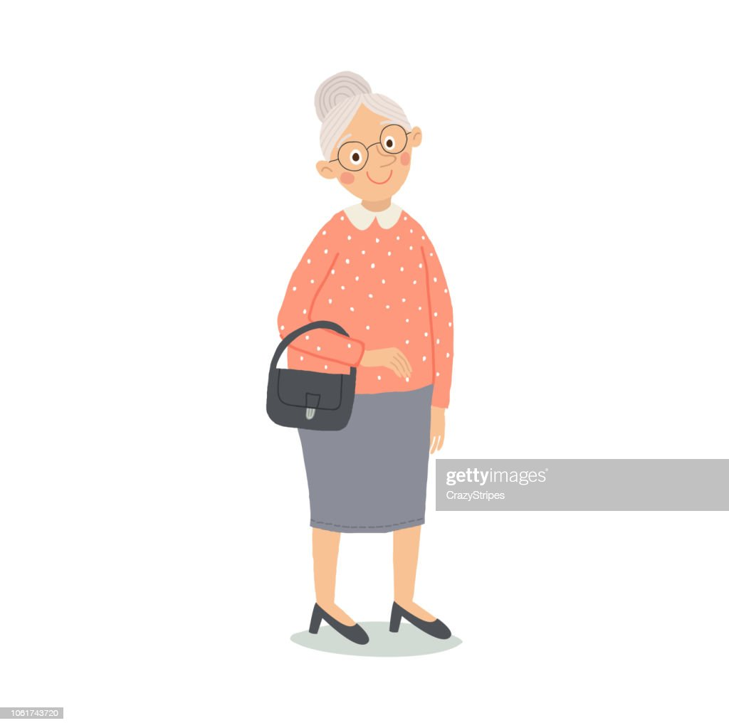Senior lady with handbag standing. Old person. Cute grandmother with glasses smiling. Elderly, retired people. Cartoon vector hand drawn illustration isolated on white background in a flat style.