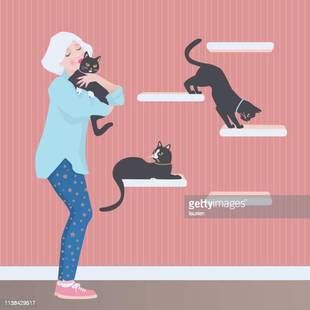 illustrations, cliparts, dessins animés et icônes de dame aînée avec ses chats - chat noir