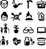 Senior lifestyle icons set - Elegant series