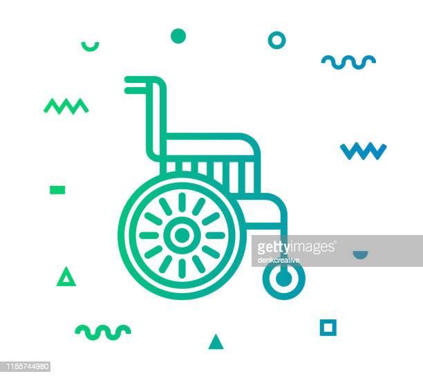 ilustrações, clipart, desenhos animados e ícones de linha viva sênior projeto do ícone do estilo - roda