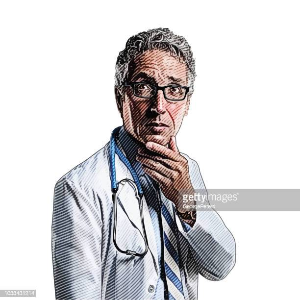 Senior Male Doctor with a pensive facial expression