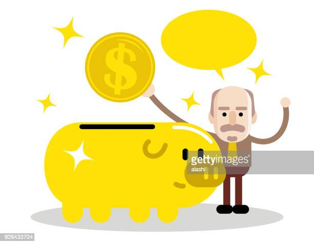 Senior man and retirement plan, elderly businessman putting a large dollar sign coin currency into a piggy bank