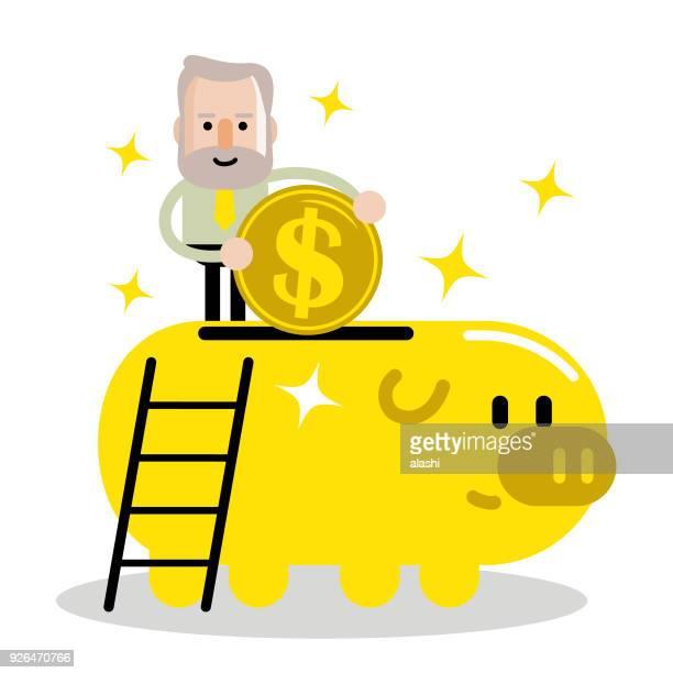Plan Senior hombre y retiro, ancianos empresario poner una moneda de grande signo de dólar moneda en una alcancía