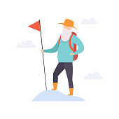 Senior man character traveling with backpack, elderly people leading an active lifestyle social concept vector Illustration on a white background