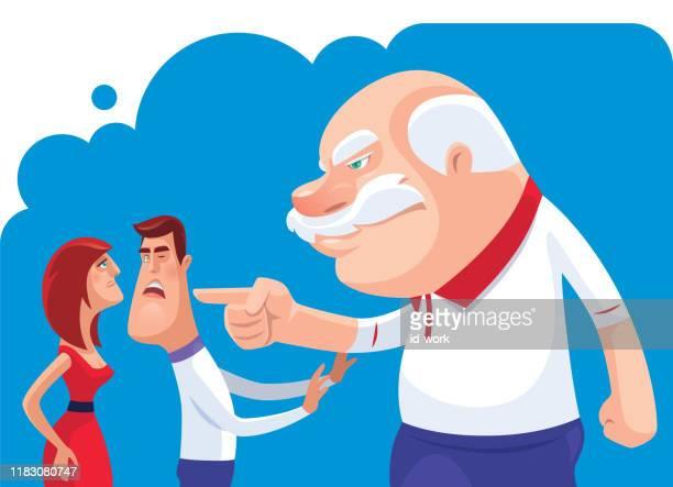 ilustraciones, imágenes clip art, dibujos animados e iconos de stock de hombre mayor en conflicto con la pareja - asumir la responsabilidad